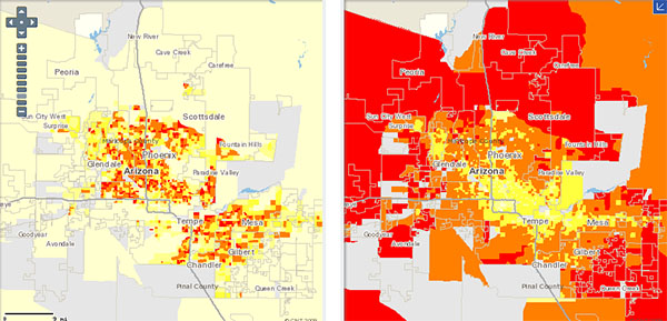 Carbon Map with CO2 Emissions per Square Mile on the Left and Per Person on the Right.
